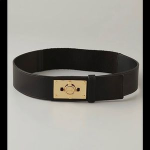 Tory burch turnlock belt small leather and stretch